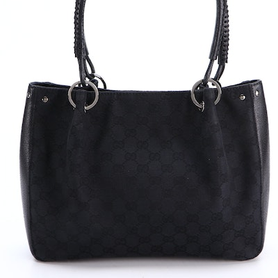 Gucci Small Shoulder Tote in Black GG Canvas and Whipstitched Leather Handles
