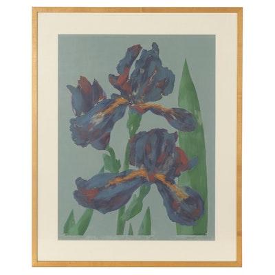 "Ray Durrell Mixed Media Monotype ""Iris Lovers Flower,"" 1983"