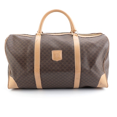 Celine Duffel Bag in Macadam Canvas with Leather Trim