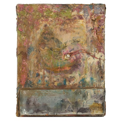 Katy DeMent Abstract Found Object Mixed Media Painting, 21st Century