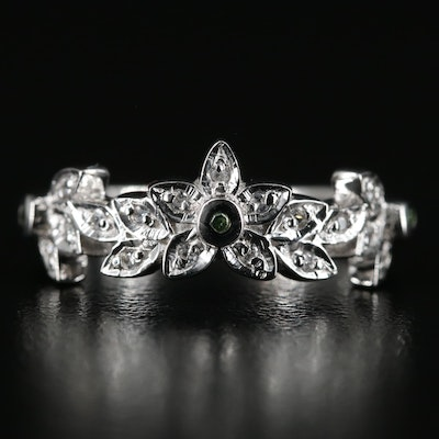 Sterling Flower Ring with Diamond and White Zircon
