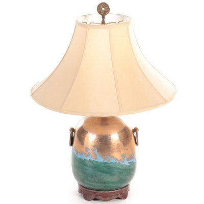 Asian Inspired Enameled Ceramic and Brass Table Lamp