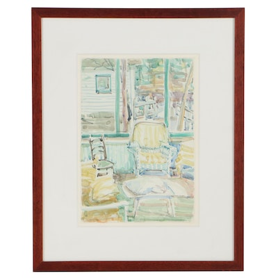 Cole Carothers Watercolor Painting of Interior Scene