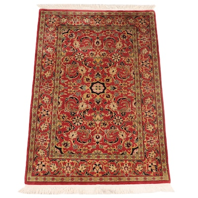 4'1 x 6'7 Hand-Knotted Indian Floral Area Rug