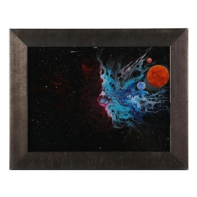 Sandra Johnson Cosmic Starscape Airbrush and Acrylic Painting, 2020