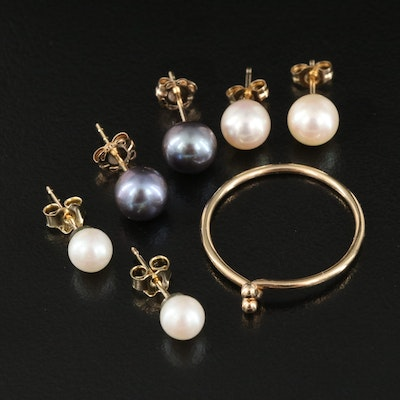 10K and 14K Pearl Earrings with Knot Ring