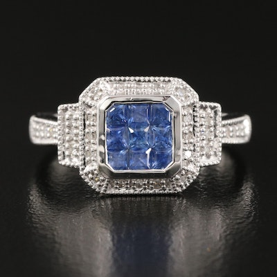 14K Invisible Set Sapphire and Diamond Halo Ring