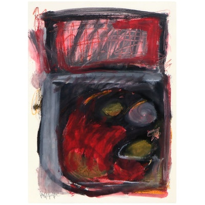 """Robbie Kemper Abstract Mixed Media Painting """"2 Squares on Paper,"""" 2021"""