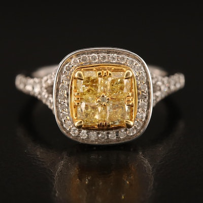 14K 1.63 CTW Diamond Ring with Yellow Gold Accents