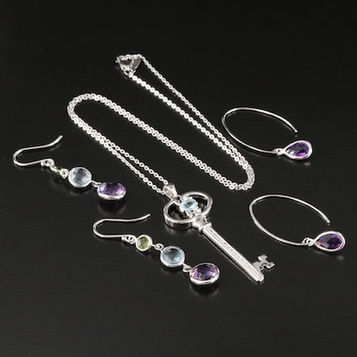 Sterling Amethyst, Topaz and Diamond Assorted Jewelry