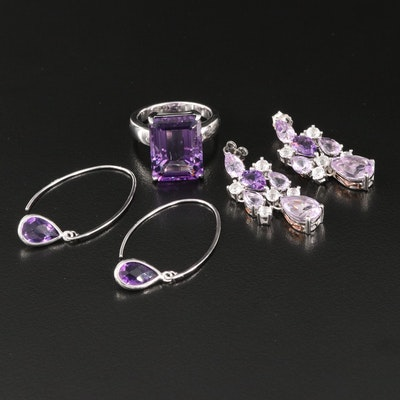 Sterling Amethyst and Topaz Jewelry Featuring Girandole Style Earrings