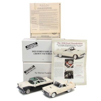 Danbury Mint 1:24 Scale Ford 1955 Fairlane Crown Victoria and 1956 Thunderbird