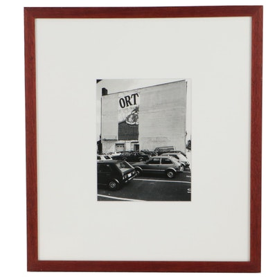 Silver Print Photograph of City Parking Lot