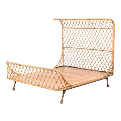 """Anthropologie """"Pari"""" Curved Rattan Queen Size Bed Frame"""