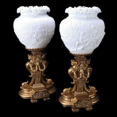 Pair of Ornate Neoclassical Style Gilt Porcelain Lamps