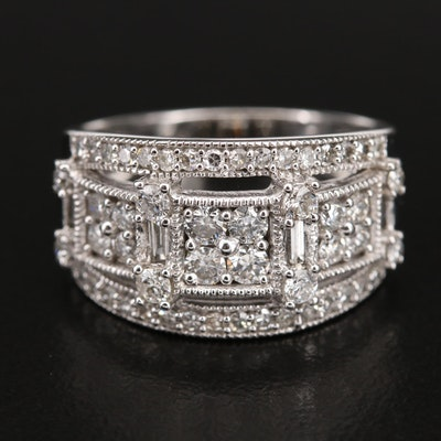 14K 1.00 CTW Diamond Openwork Ring with Milgrain Detail