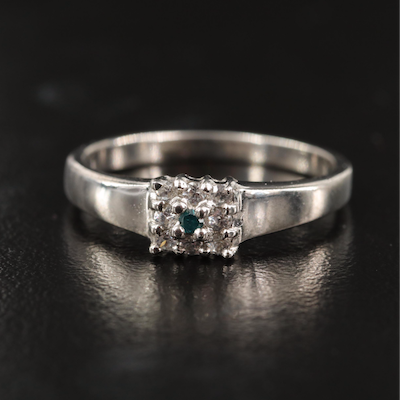 Sterling Diamond and White Zircon Ring