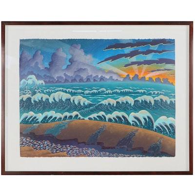 Dan Boldman Seascape Acrylic Painting, 1988
