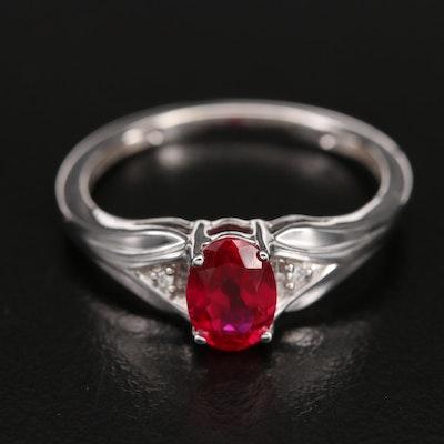 10K Ruby and Diamond Three Stone Ring