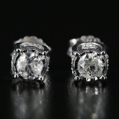 10K 0.52 CTW Diamond Stud Earrings with Heart Details