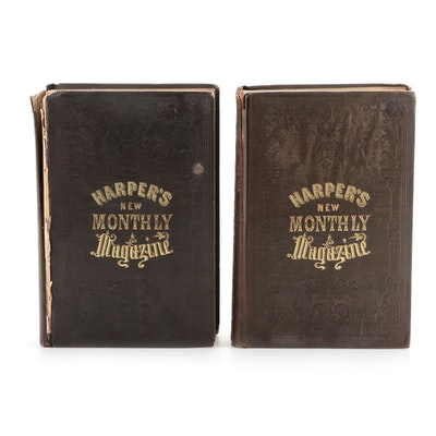 """Harper's New Monthly Magazine"" Bound Periodicals, Mid-19th Century"