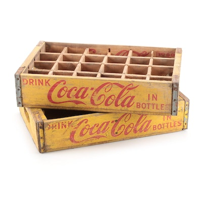 Wooden Coca-Cola Advertising Crates, Mid to Late 20th Century