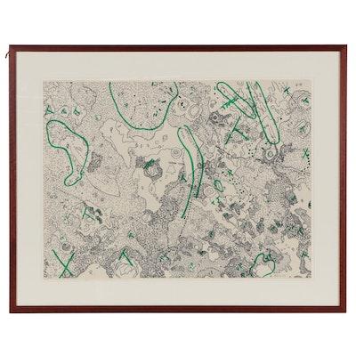 "Nancy Graves Lithograph ""IV Julius Caesar Quadrangle of the Moon,"" 1972"