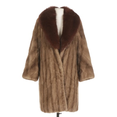 Mink Fur Coat with Fox Fur Shawl Collar