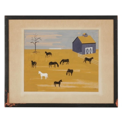 Rural Farm Scene Gouache Painting, Mid to Late 20th Century
