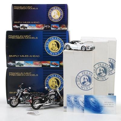 Franklin Mint Limited Edition 1:24 Dodge Viper SRT-10 and 1:10 Harley Softails