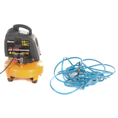 Bostitch 4 Gallon Oil-Free Pancake Air Compressor with Campbell Hausfeld Hose