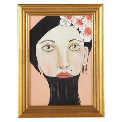 "Deborah McEvoy Acrylic Painting ""Flowers Made Her Feel Beautiful"""