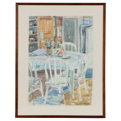 Cole Carothers Watercolor Painting of Interior Scene, 1984