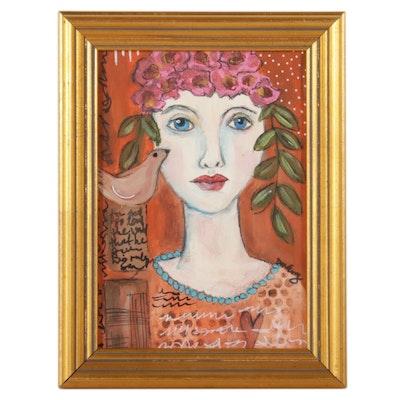 "Deborah McEvoy Acrylic Painting ""She Was Loved,"" 21st Century"