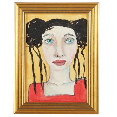 "Deborah McEvoy Folk Art Acrylic Painting ""A Heart for Someone's Troubles"""