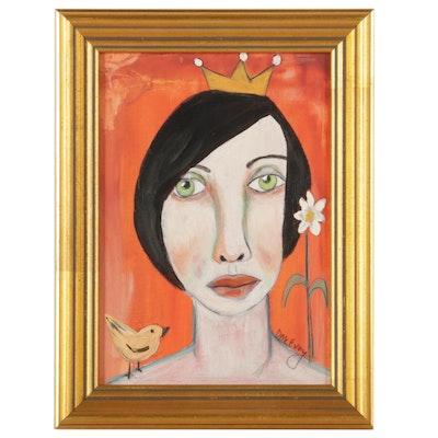 "Deborah McEvoy Folk Art Acrylic Painting ""She Felt Safe,"" 21st Century"