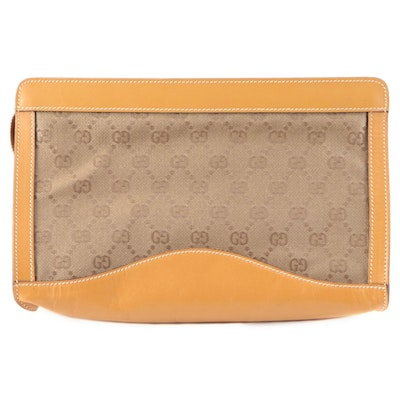 Gucci GG Canvas and Leather Clutch