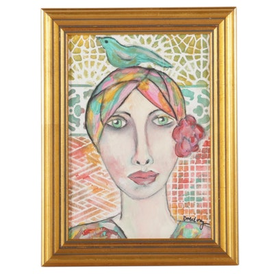 "Deborah McEvoy Folk Art Acrylic Painting ""Collect Beautiful Moments"""