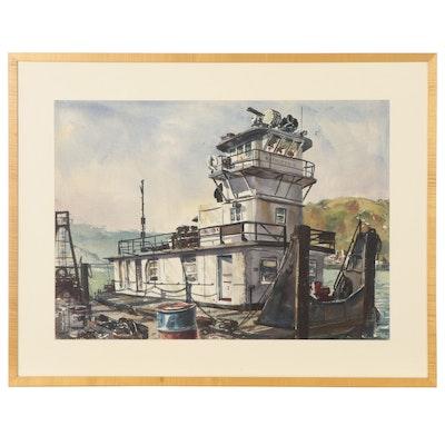 """George Williams Watercolor Painting of Diesel Towboat """"Kathleen K"""""""