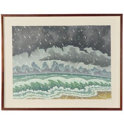 Dan Boldman Stylized Seascape Acrylic Painting, 1989