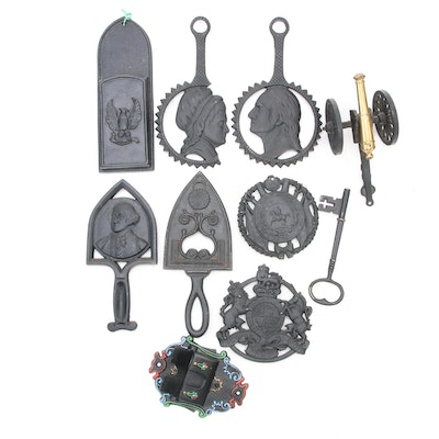 Virgina Metal Works and Other Cast Iron Trivets, Wall Match Holders and More
