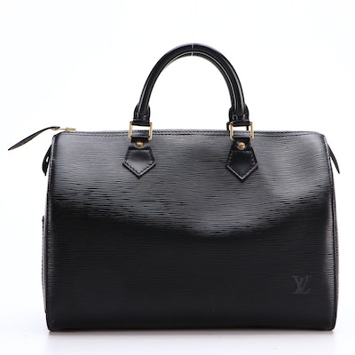 Louis Vuitton Speedy 30 Bag in Black Epi and Smooth Leather