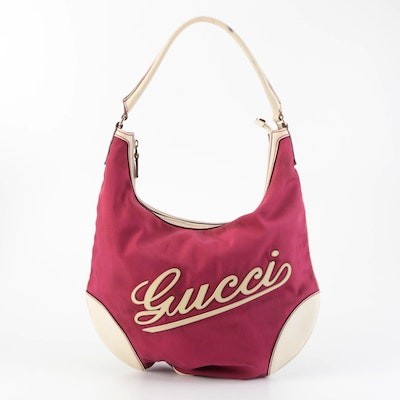 Gucci Boulevard Hobo Shoulder Bag in Red Nylon Canvas and Cream Leather