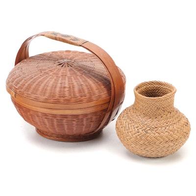 Woven Wicker Handled Basket and Basket Vase