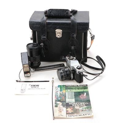 Pentax Honeywell Spotmatic SLR Camera with Vivitar Telephoto 135mm Lens, More