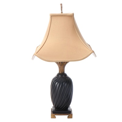 East Asian Style Black and Gilt Wood Table Lamp with Soapstone Finial