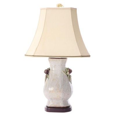 East Asian Style Floral and Foliate Motif Ceramic Table Lamp