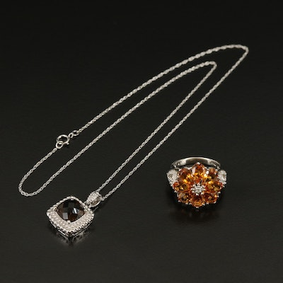 Sterling Ring and Necklace with Smoky Quartz, Citrine and Diamond