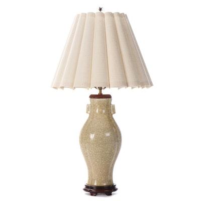 Chinese Crackle Glaze Ceramic Hu Table Lamp