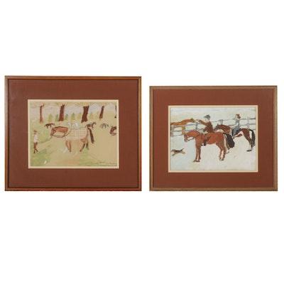 D. L. Fleischman Equestrian Scene Watercolor and Gouache Paintings, Circa 1940